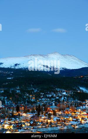 Snow-covered Bald Mountain and Breckenridge, Colorado USA - Stock Photo