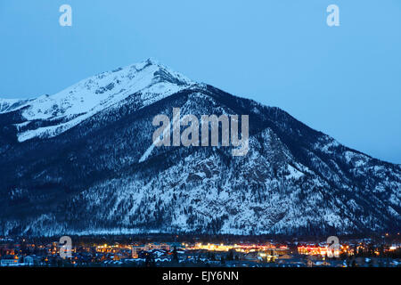Ten Mile Peak (aka Peak 1) and town of Frisco, Colorado USA - Stock Photo