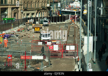 Construction work for the Metrolink tram Second City Crossing route, Exchange Square, Manchester, England, UK - Stock Photo
