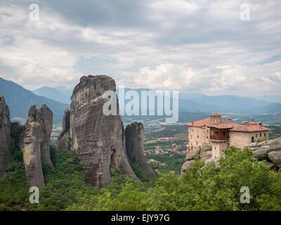 Moni Agias Varvaras Rousanou monastery between Meteora landscape - Stock Photo