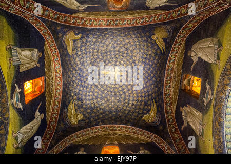 central vault with starry sky and cross, the Mausoleum of Galla Placidia, Ravenna, Italy. - Stock Photo