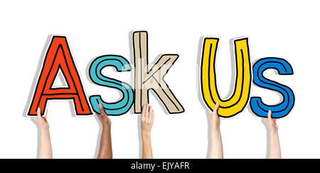 Group of Hands Holding Letter Ask Us - Stock Photo