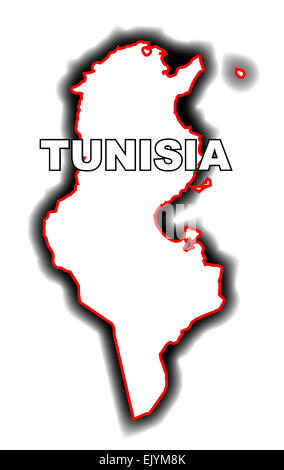 Outline map of the Arab League country of Tunisia - Stock Photo