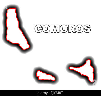 Outline map of the Arab League country of Comoros - Stock Photo