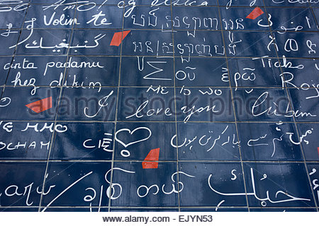 Wall of Love, Montmartre, Paris; a wall with 'I love you' written in 250 languages - Stock Photo