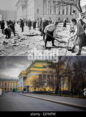 Leningrad, USSR. People clearing a square in front of the Russian State Pushkin Academy Drama Theatre (Alexandrinsky - Stock Photo