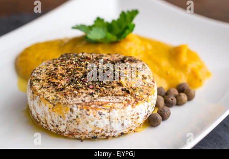 Grilled Camembert Cheese with Spices and Pumpkin Puree on White Plate - Stock Photo