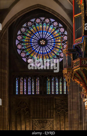 Stained glass windows in Notre Dame of Strasbourg Cathedral, France - Stock Photo