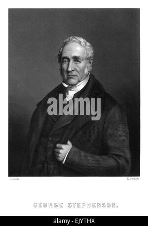 engraved portrait illustration of George Stephenson (1781-1848) circa 1845. He was an English civil engineer and - Stock Photo