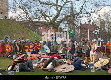 Vikings and Anglo Saxons at the Viking Festival York North Yorkshire England UK United Kingdom GB Great Britain - Stock Photo
