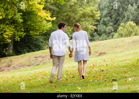 rear view of young couple walking hand in hand at the park - Stock Photo
