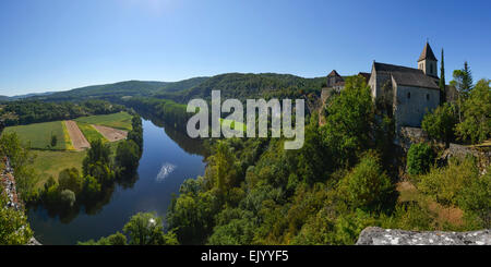 Panorama of Calvignac village, River Lot, Midi-Pyrenees, France, Europe - Stock Photo