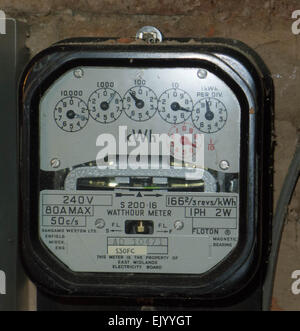 Electricity meter, old style electric meter, electricity meter with dials, meter reading, power supply, electricity, - Stock Photo