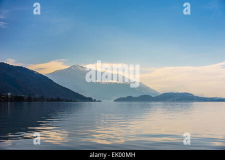 A view at swiss mountain Rigi over the Lake Zug in Switzerland. - Stock Photo