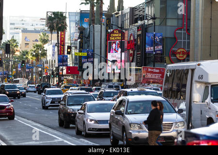 Traffic On Hollywood Boulevard With Hard Rock Cafe And