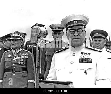 GEORGY ZHUKOV ((1896-1974) Soviet General on a visit to Poland to receive a decorations in 1946 - Stock Photo