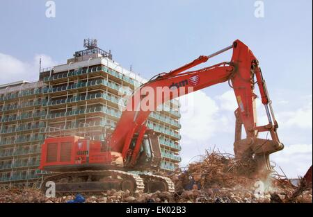 Demolition, clearing site with Northampton house in the background - Stock Photo