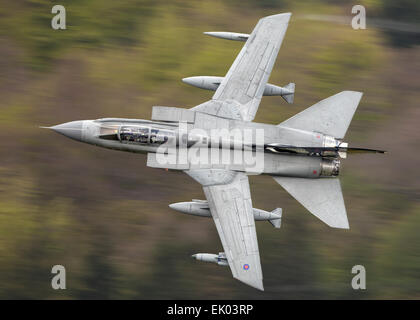 RAF GR4 Tornado through the Derwent Dam Derbyshire - Stock Photo
