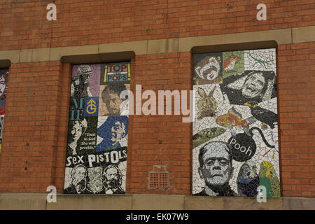 Mark Kennedy mosaics, 'Pets and Horror', 'Manchester Greats', Affleck's Palace, Tib Street, Northern Quarter, Manchester, - Stock Photo