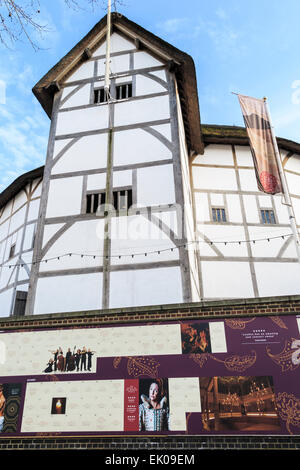 The Globe Theatre, associated with William Shakespeare, Bankside on the south bank of the Embankment, London SE1 - Stock Photo