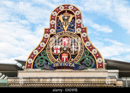 Colourful Victorian sign on south bank of the Embankment, Blackfriars Bridge, London - the LCDR badge: London Chatham - Stock Photo