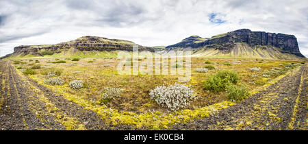Panoramic view of the mountains along the south road in Iceland. - Stock Photo