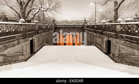 Vintage look of  the pedestrian tunnel under Terrace Drive,  at the end of the Mall, on a snowy morning in Central - Stock Photo
