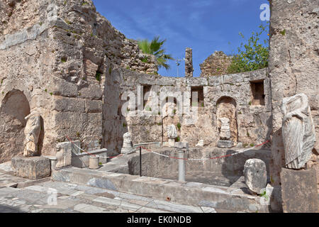 Ancient ruins and statues at Side, Turkey. - Stock Photo