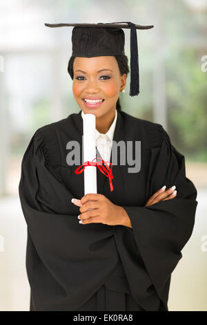 portrait of gorgeous young female African college graduate - Stock Photo