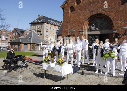 Copenhagen, Denmark. 4th April, 2015. Sundby luther church holds easter saturday yard service for general public - Stock Photo