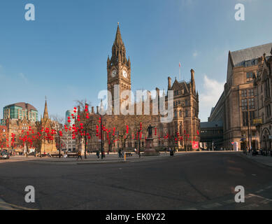 Manchester Town Hall Albert Square Greater Manchester England - Stock Photo