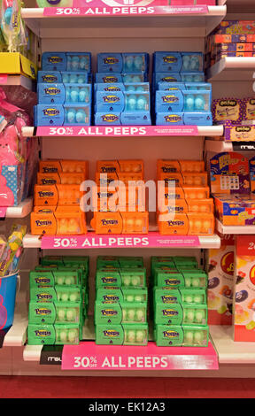 Interior of IT'SUGAR store on Broadway in Greenwich Village with a display of colorful PEEPS Easter candy on sale.