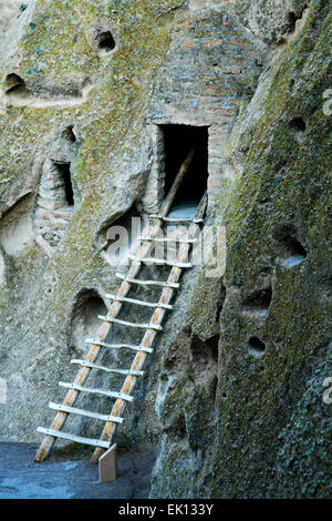 Ladder to cliff dwelling, Frijoles Canyon, Bandelier National Monument, New Mexico USA - Stock Photo