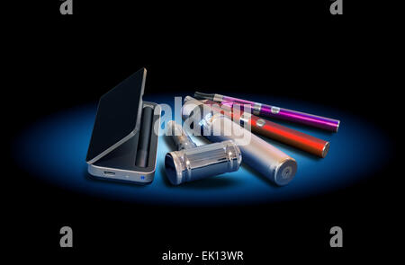 Electronic vapor devices isolated on black - Stock Photo