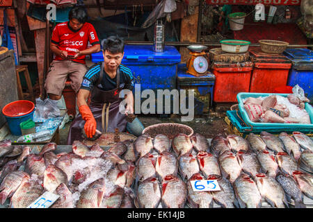 Bangkok Thailand food fishmonger fish market shop Stock Photo, Royalty Free I...