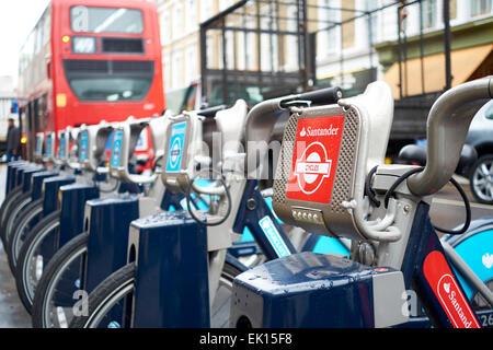 LONDON, UK - APRIL 02: Detail of Boris bikes in line. April 02, 2015 in London. On 27 February 2015. Mayor Boris - Stock Photo