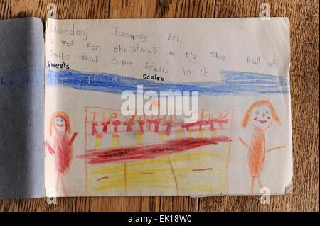 Diairies of primary school children in the United Kingdom - Stock Photo
