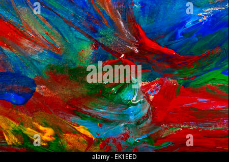 Abstract oil paints on canvas. Broad brush strokes of red ...