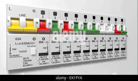 A row of switched on household electrical circuit breakers on a wall ...