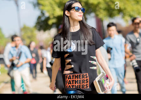 Paris Fashion Week - Spring/Summer 2015 - Streetstyle Featuring: Ming Xi Where: Paris, France When: 30 Sep 2014 - Stock Photo