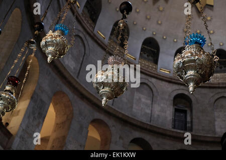 Lamps decorating the Dome of the Rotunda of the Church of the Holy Sepulchre in the Christian Quarter Old city East - Stock Photo