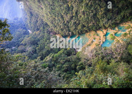 Semuc champay a natural aqua park in Guatemala - Stock Photo