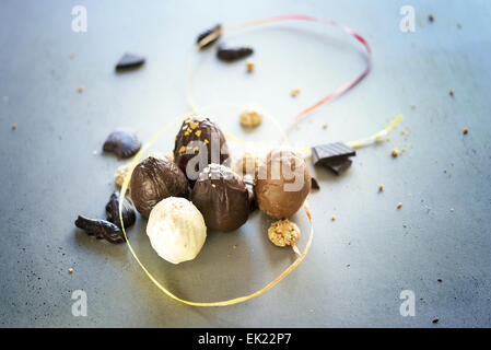 Easter eggs on wooden table. Holiday background - Stock Photo
