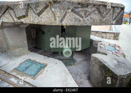 German anti-tank gun at Saint-Aubin-sur-Mer, Normandy D-Day Allied invasion site, France, Europe - Stock Photo
