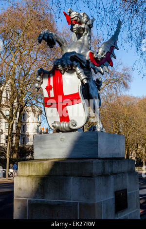 A Cast Iron Dragon Statue Sits On The Victoria Embankment, Marking The Boundary Of The City of London, London, England - Stock Photo