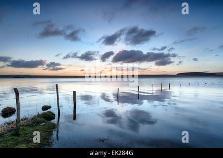 Dawn at the Crowdy Reservoir on Bodmin Moor in Cornwall