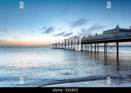 Dawn at the pier at Paington on the south coast of Devon - Stock Photo
