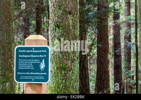 Ecological protected zone in Pacific Spirit Park, Vancouver - Stock Photo