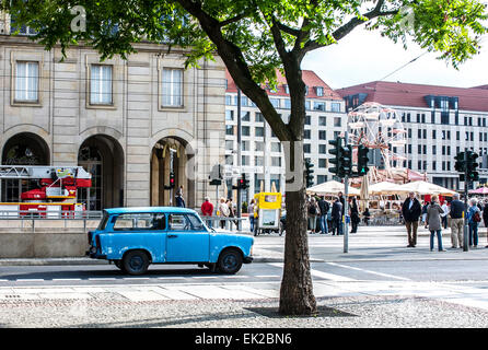 A battered blue Trabant on the streets of Dresden, Germany. Manufactured in East Germany between 1957-1990. - Stock Photo