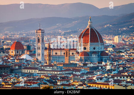 The Duomo of Florence at Sunset, Tuscany, Italy. - Stock Photo